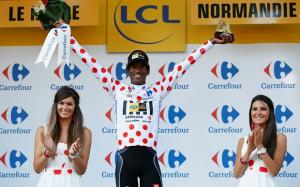 Daniel at Tour de France winning Polka Dot Jersey